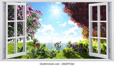 Landscape overlooking the sunny flowering meadow