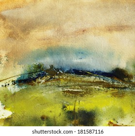 Landscape painting on handmade paper, art background