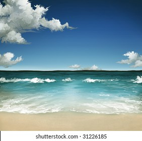 a landscape painting of a warm ocean in the Summer with a cloudy sky over waves on a sandy beach