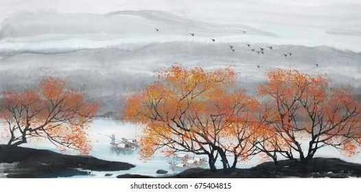 Landscape painting.Traditional Chinese Painting.