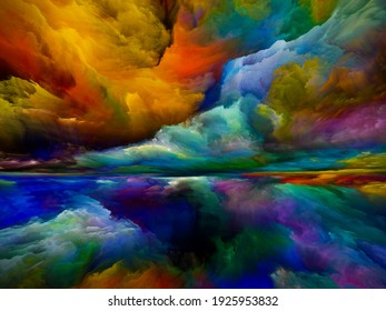 Landscape of Paradise. Color Dreams series. Arrangement of paint, textures and gradient clouds on theme of inner world, imagination, poetry, art and design