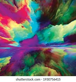 Paisaje del paraíso. Serie de sueños de color. Arreglo de pintura, texturas y nubes de gradiente sobre el tema del mundo interior, imaginación, poesía, arte y diseño