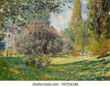 Landscape: The Parc Monceau, by Claude Monet, 1876, French impressionist painting, oil on canvas. Monet applied the paint in small daubs over the entire canvas, a style that became characteristic of h