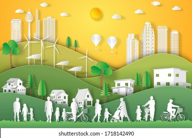 landscape of peoples exercise and relax with family in green nature, fresh air in the park as healthy , eco world environment day, paper art and craft style concept.