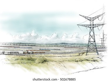 landscape with power lines