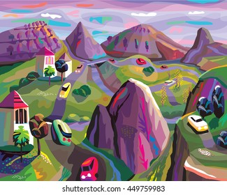 Landscape with purple mountains and roads in Folk Art Digital style