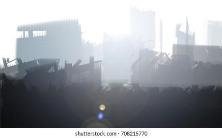 Landscape ruins city devastation painting
