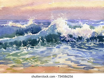 Landscape with sea coast, waves, surf. Seascape painted in watercolor.