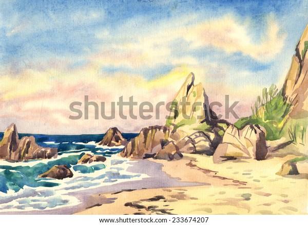 Landscape Sea Rocks Watercolor Painting Stock Illustration