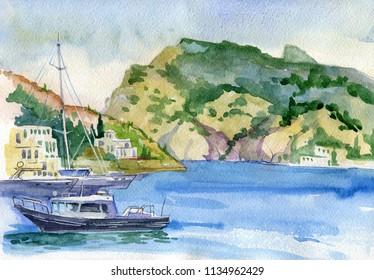 Landscape. Seascape. Watercolor. Sea, rocks, mountains, port, ships. Balaclava, Sevastopol, Crimea. Travels. Tourism.