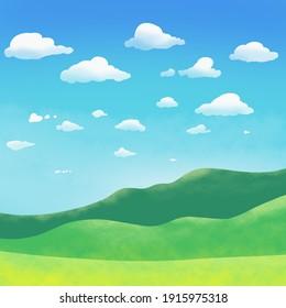 Landscape simple art illustration cartoon game wallpaper background cover design