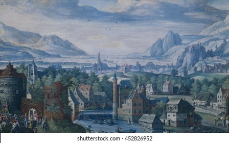 Landscape with the Story of Jephthah's daughter, by Jacob Savery (I), 1580-89, Flemish-Dutch painting, gouache on vellum. The Biblical scene in lower left is set in a spacious landscape of Northern E