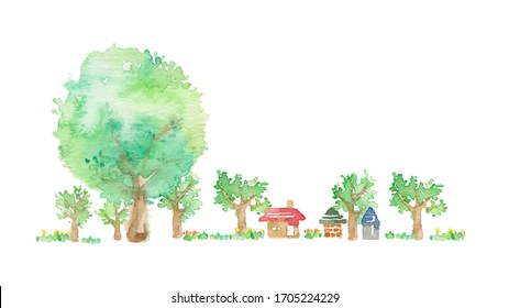 The landscape of the suburb where a round big tree is here
