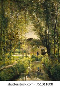 LANDSCAPE WITH A SUNLIT STREAM, by Charles-Francois Daubigny, 1877, French painting, oil on canvas. Daubignys realist Barbizon style was influenced by the impressionist painters Pissarro and Monet. Da