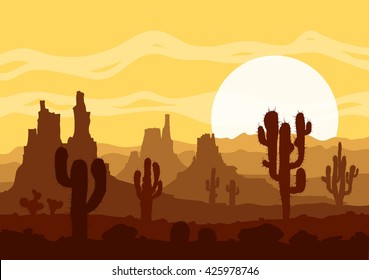 Landscape with sunset in stone desert with cactuses and mountains. Raster illustration.