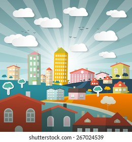 Landscape Town or City in Flat Design Retro Style Illustration