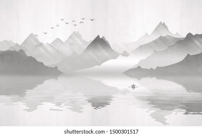 Landscape view of the silhouettes of the mountains next to the lake with a boat and a flock of birds. Texture of plaster in monochrome tones.