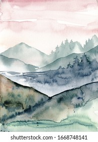 Landscape, watercolor mountains, hand painting. Perfectly for poster, card.