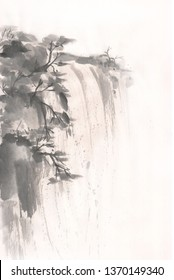 landscape waterfall in the mountains with mascara