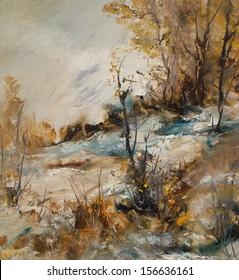 Landscape in winter, oil painting illustration