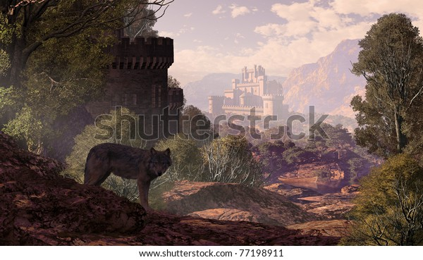 A landscape with a wolf coming out of the woods with a gothic castle off in the distance and in the foreground.