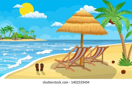 Landscape of wooden chaise lounge, palm tree on beach. Umbrella. Day in tropical place. illustration in flat style Raster version.