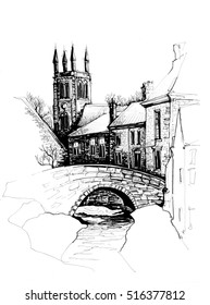 Landscape Yorkshire freehand sketch
