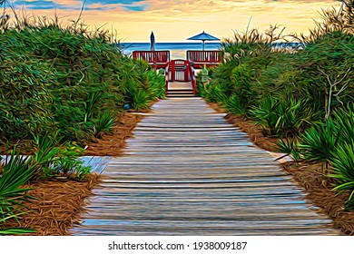 Landscaped boardwalk and gate for access to coastal beach, with one umbrella lowered and one raised on platform, in Rosemary Beach, Florida, USA, at sunset, with digital painting effect. 3D rendering.
