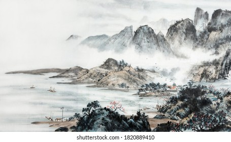 Landscapes ink and wash painting.Decoration for the interior. Japanese traditional culture.