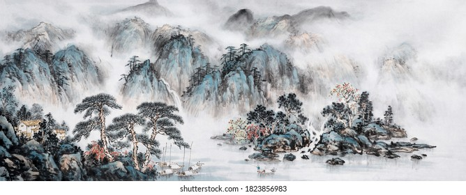 Landscapes ink and wash painting.Japanese traditional culture.