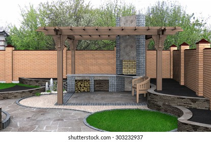 Landscaping View of the pergola recreation space, 3D Render