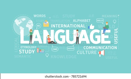 Language illustration concept. Idea of learning foreign language and communication.