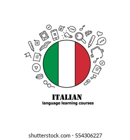 Language learning courses, learn Italian language. Flag of Italy with doodle sketch hand drawn icons around.
