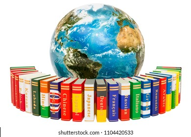 Languages Books with Earth Globe, 3D rendering isolated on white background, Elements of this image furnished by NASA