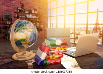 Languages learning and translate, communication and travel concept, books with covers in colors of flags of Europe countries, laptop and globe on a table in a modern interior, 3d illustration