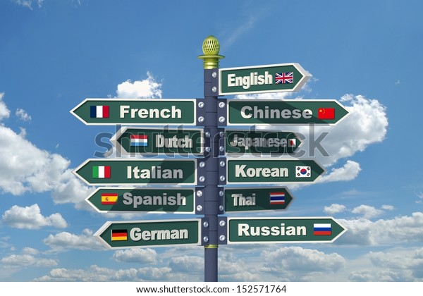 Languages signpost including English, French, Chinese, Dutch, Japanese, Italian, Korean, Spanish, Thai, German and Russian.