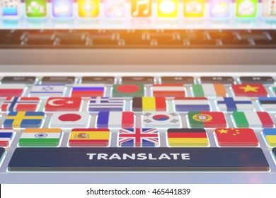 Languages translation concept, online translator, close-up view of computer keyboard with national flags of world countries on keys and translate button, 3d illustration