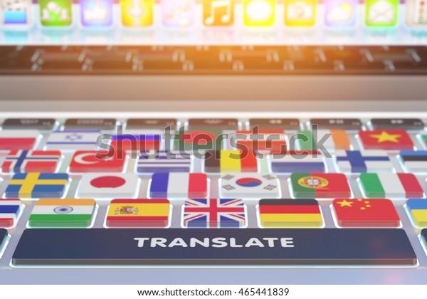 Sprachübersetzungskonzept, Online-Übersetzer, Nahaufnahme der Computertastatur mit nationalen Flaggen von Ländern der Welt auf Tasten und Übersetzungsknopf, 3D-Abbildung