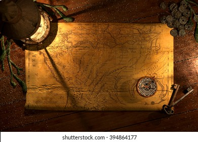 Lantern & Compass Background A ship's lantern and open map lies on a sandy wooden table with a compass, keys and old coins. 3d render.