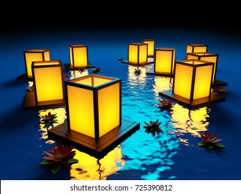 lanterns and flowers floating on the water. 3d illustration