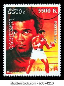 LAOS - CIRCA 1999: A postage stamp printed in Laos showing Muhammad; Ali, circa 1999
