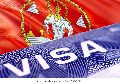 Laos Visa Document, with Laos flag in background, 3D rendering. Laos flag with Close up text VISA on USA visa stamp in passport.Visa passport stamp travel Laos business