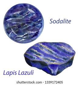 Lapis Lazuli and Sodalite watercolor gems. Throat chakra stones and healing crystals. Hand drawn illustration of blue gemstones isolated on white background