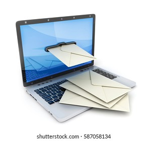 Laptop and abstract e-mail. 3d illustration