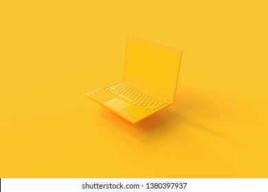Laptop background with blank screen yellow color mock-up for your text, minimal idea concept 3d render.