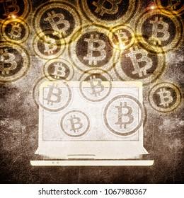 laptop and bitcoin symbol digital illustration