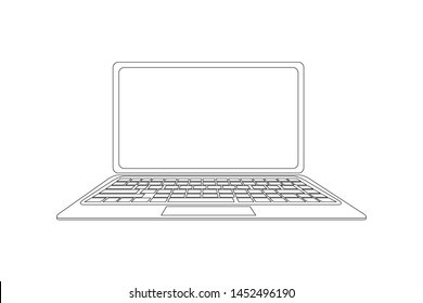 Laptop Black and White Drawing