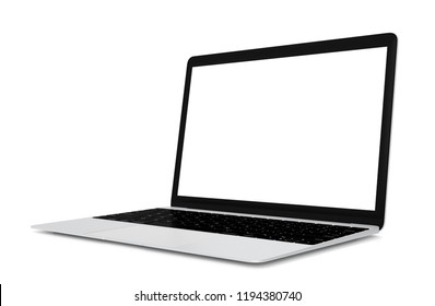 Laptop with blank screen isolated on white background, 3d rendering