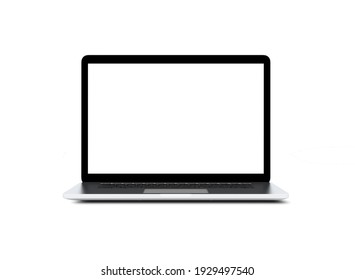 Laptop with blank screen isolated on white background, white aluminium body. 3D illustration, 3D rendering.