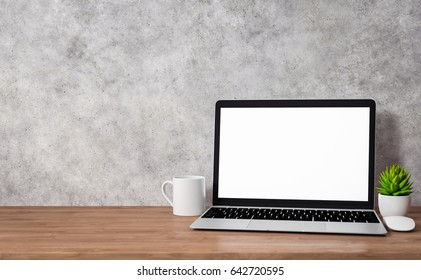 Laptop with blank screen on wood table, workspace mockup design, illustration 3D rendering
